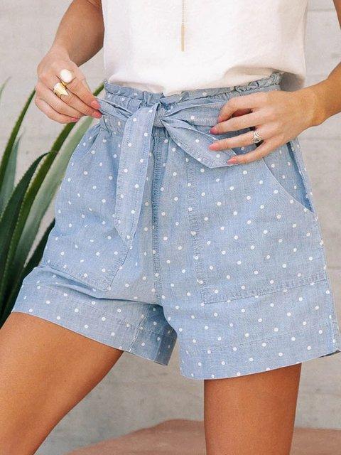 Light Blue Casual Cotton Pants