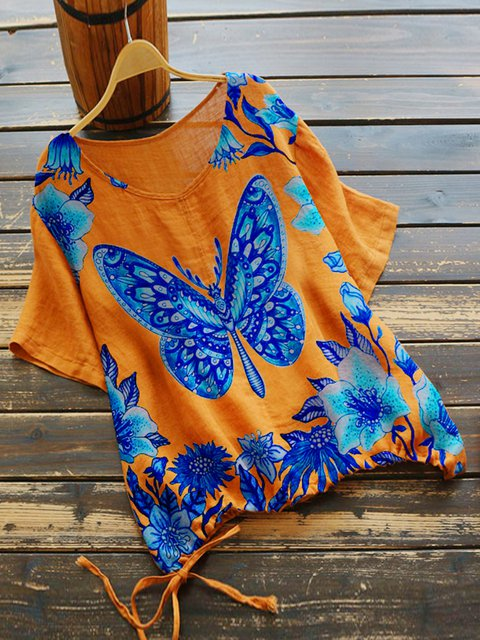 Orange Floral-Print Short Sleeve Shirts & Tops
