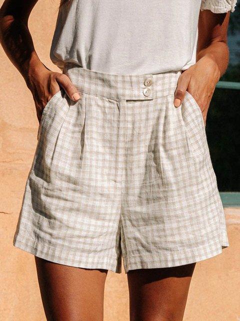 Beige Casual Cotton-Blend Pants