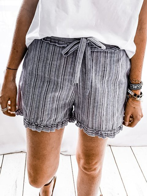 Women Striped Drawstring Summer Casual Shorts