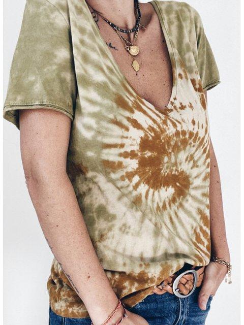 Women Tie-Dye V-Neck Summer Casual Tees
