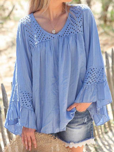 Women Frill Sleeves Crocheted Paneled Casual Blouses