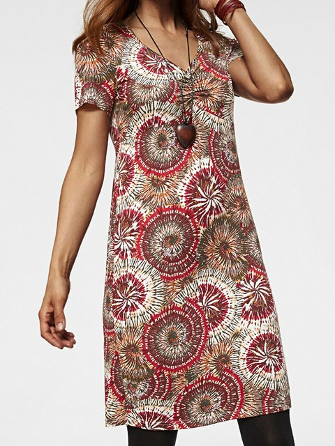 Multicolor Floral Short Sleeve V Neck Dresses