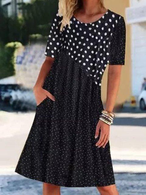 Black Short Sleeve Polka Dots Crew Neck Cotton-Blend Dresses
