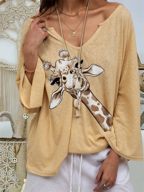 Yellow Animal Knitted Long Sleeve Shirts & Tops