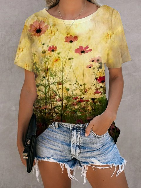 Floral Casual Cotton Shirts & Tops