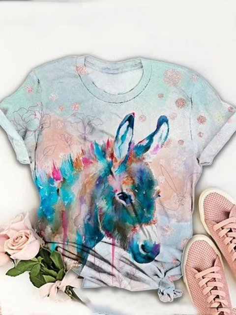 Color Vintage Crew Neck Animal Shirts & Tops