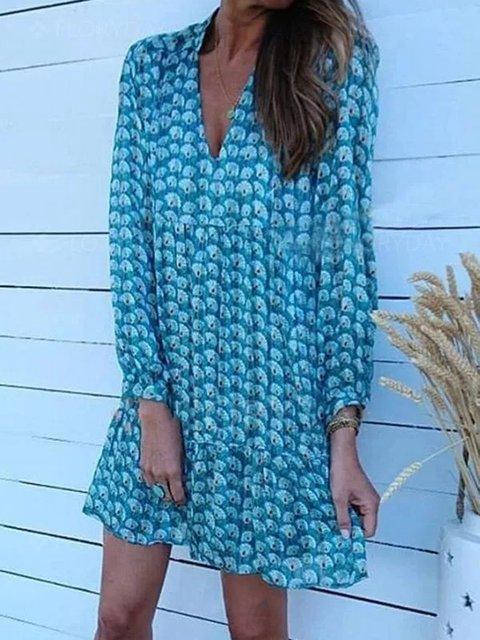 Blue Long Sleeve V Neck Cotton-Blend Dresses