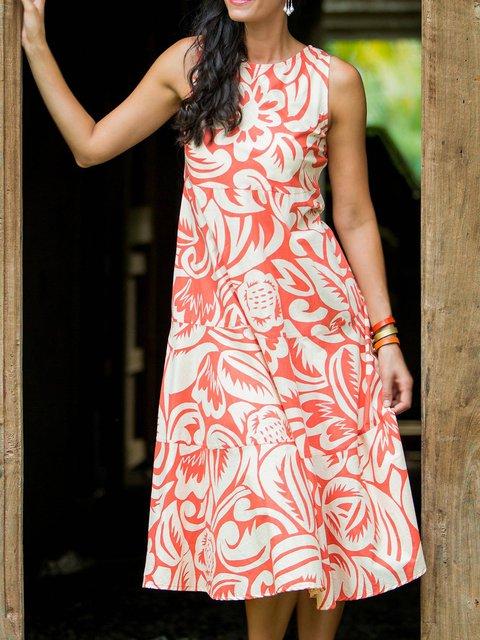 Sleeveless Floral Midi Dress Plus Size Summer Dresses