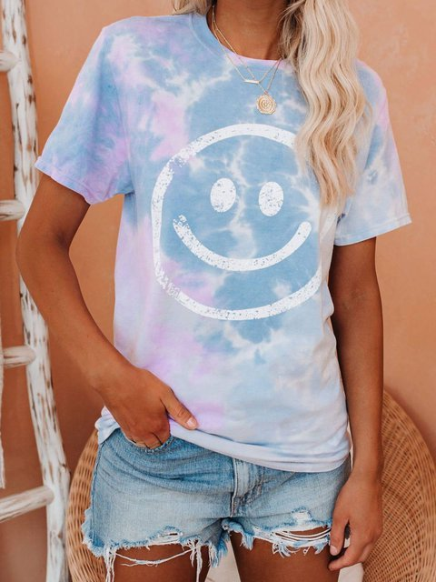 Ombre/Tie-Dye Casual Cotton-Blend Printed  Tops