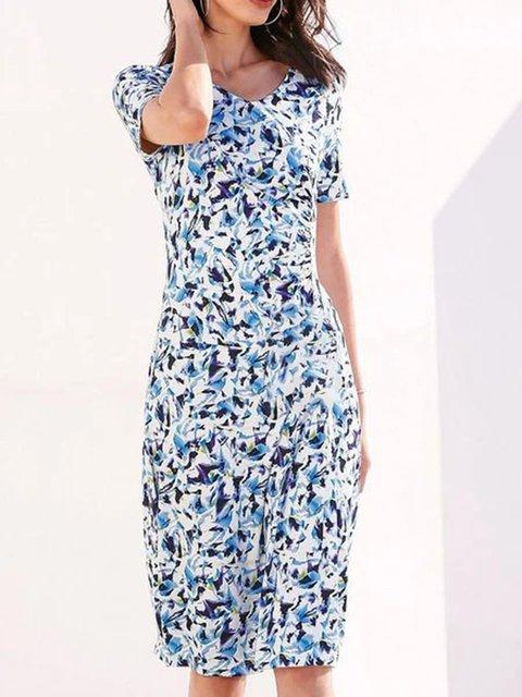 Blue Floral Short Sleeve Printed Cotton-Blend Dresses