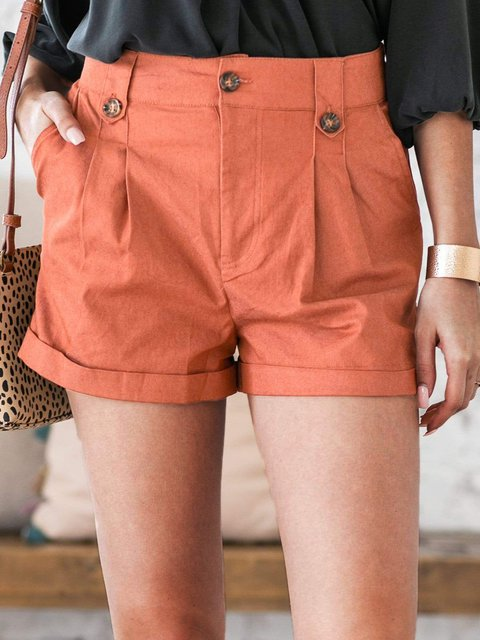 Casual Pocket Pleated Shorts