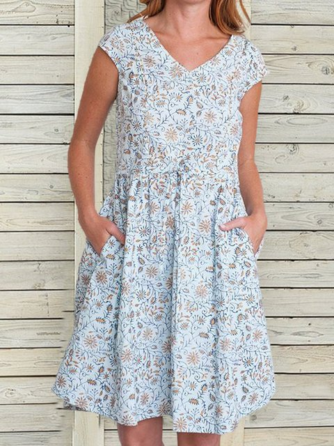 Printed V-neck Casual Short Sleeve Dress