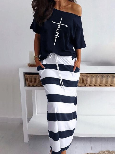 Printed Cotton-Blend Casual Dresses