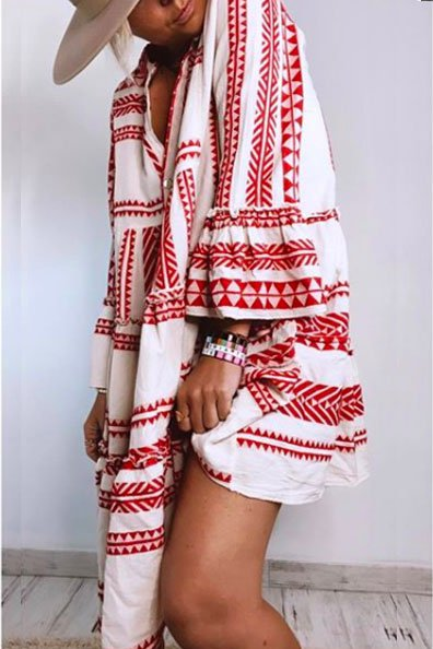 Red Casual Color-Block Cotton Patchwork Dresses