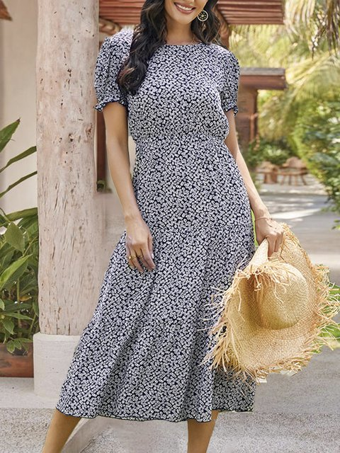A-Line Holiday Floral Midi Dress
