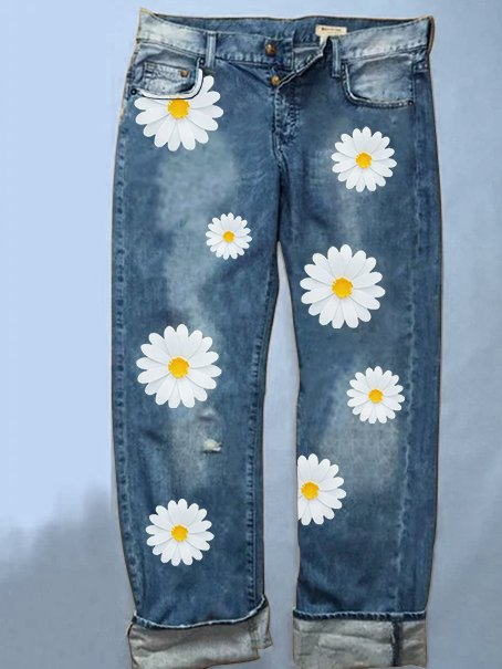 Denim pants with small daisy print
