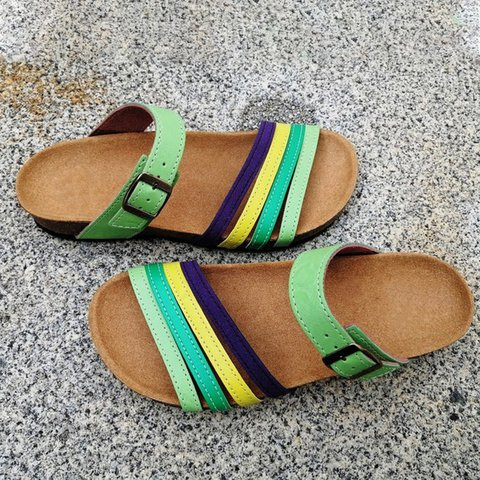 Green Flat Heel Artificial Leather Summer Slippers