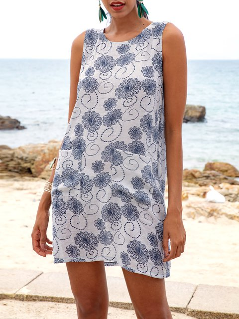 White Casual Floral Crew Neck Dresses