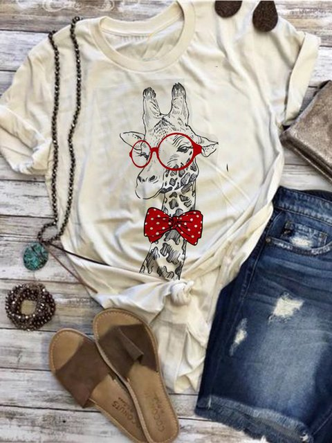 Creamy White Printed Crew Neck Casual Shirts & Tops