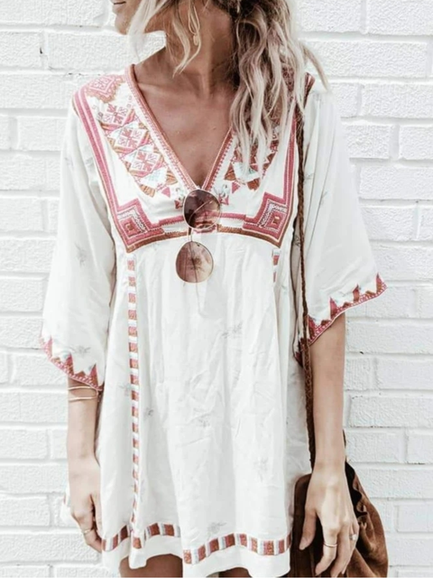 White Cotton Half Sleeve V Neck Dresses