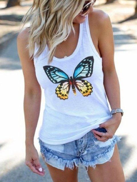 Cotton Sleeveless Floral-Print Animal Shirts & Tops