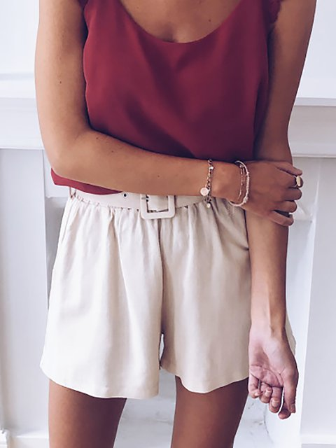Fashion Casual Solid Color Cotton Shorts
