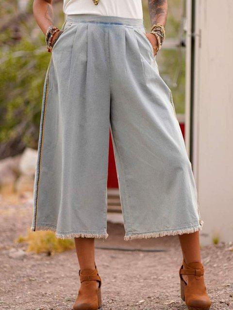 Women Pockets Wide Leg Casual Denim Pants