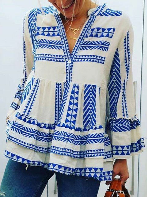 Women V-Neck Cotton Long Sleeves Casual Blouses