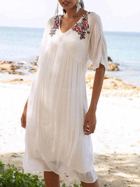 White Plain V Neck Casual Dresses