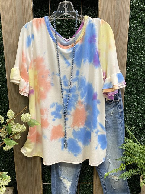 Blue Casual Dip-Dyed Cotton-Blend Shirts & Tops