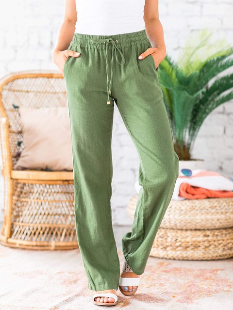 Casual Solid Color Breathable Linen Pant
