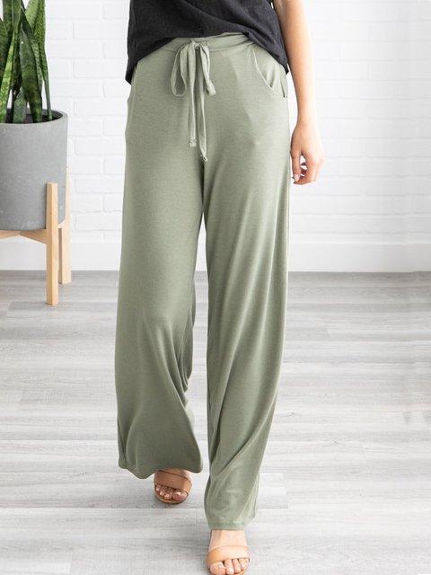 Soft Casual Drawstring Waist Pockets Lounge Pant