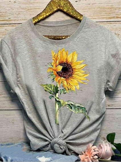 Sunflower Print Crew Neck Short Sleeve Casual T-Shirts & Tops