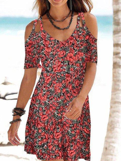 Casual Floral Off Shoulder Dresses