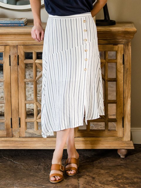 Striped Buttoned Skirts Plus Size Summer Skirts