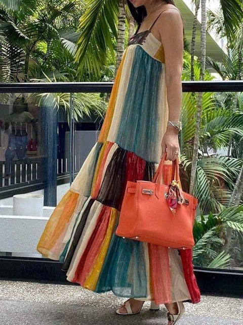 Multicolor Geometric Cold Shoulder Strapless Dresses