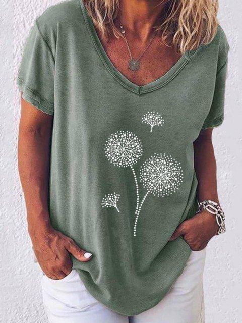 Floral Cotton-Blend Casual V Neck Tops