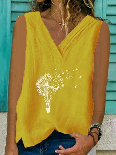 Dandelion Print Sleeveless Casual Vest Shirts & Tops
