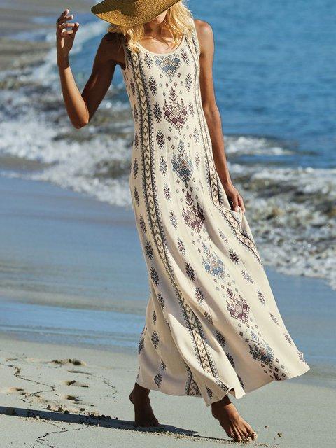 Summer Sleeveless Maxi Dress Plus Size Crew Neck Dresses
