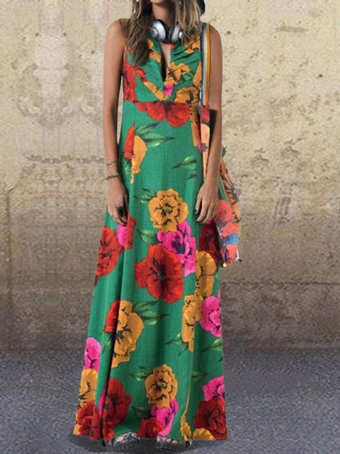 Floral Sleeveless Maxi Dress Summer Plus Size Dresses