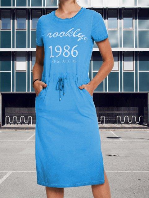 Letter print ladies dress daily mid-length pocket dress