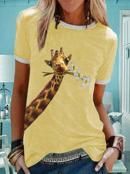 Giraffe animal print casual short sleeve round neck T-shirt