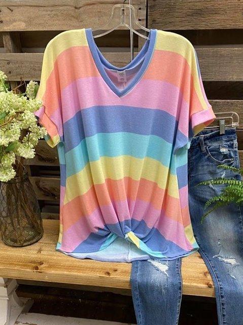 Cotton-Blend V Neck Short Sleeve Shirts & Tops