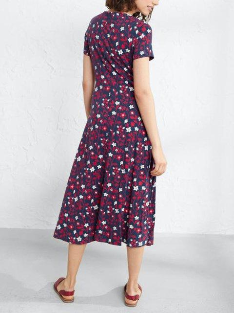 Flower Cotton-Blend Floral Crew Neck Casual Dresses