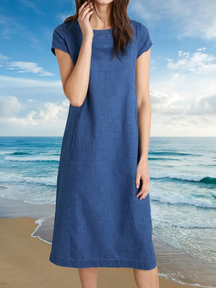 Navy Blue Short Sleeve Cotton-Blend Plain Crew Neck Dresses