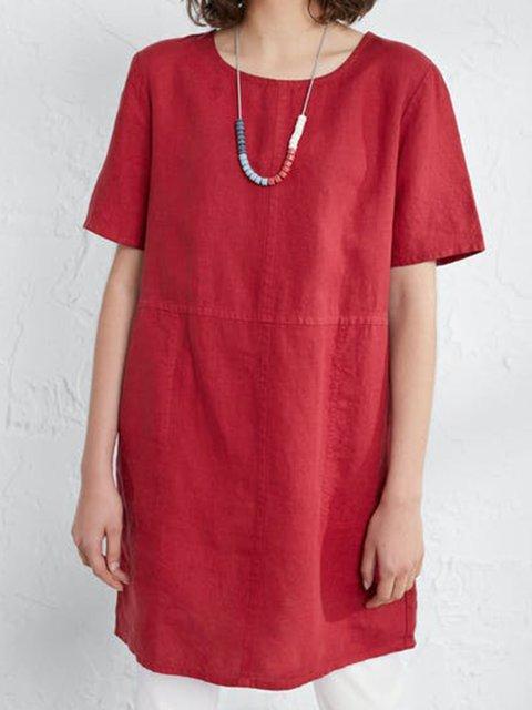 Red Short Sleeve Crew Neck Plain Cotton-Blend Shirts & Tops