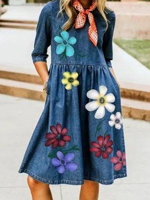 Blue Half Sleeve Floral-Print Floral Dresses