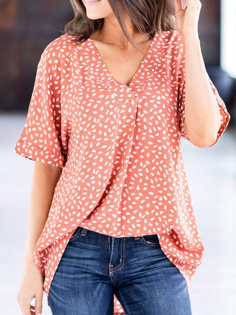 V-neck Cuffed Sleeve Casual Tops