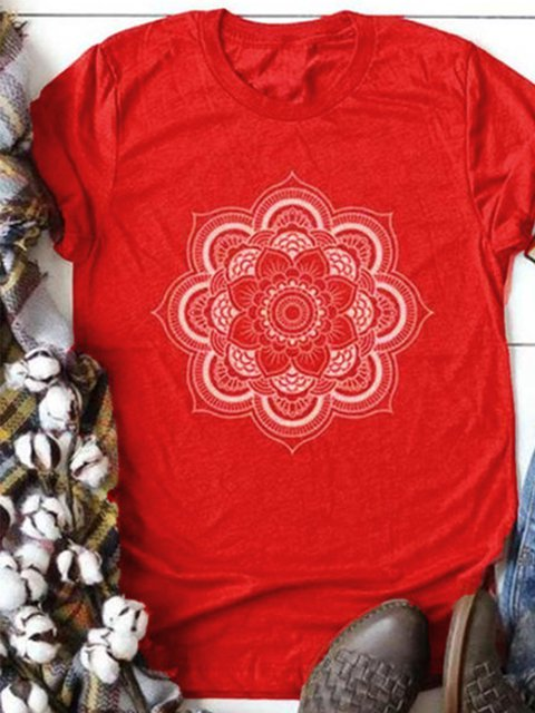 Cotton-Blend Short Sleeve Round Neck Shirts & Tops
